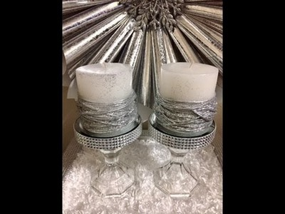 Rhinestone Decor Candle Holder (for weddings, sweet 16's & Quinceaneras) diy