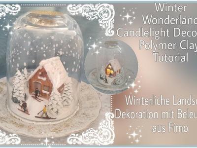 Winter Wonderland Candlelight Decoration, Polymer Clay, Tutorial,