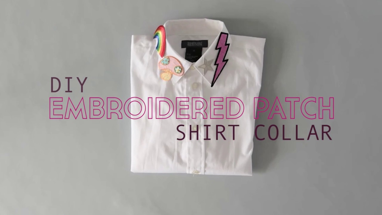 DIY Embroidered Shirt Collar - No sew!