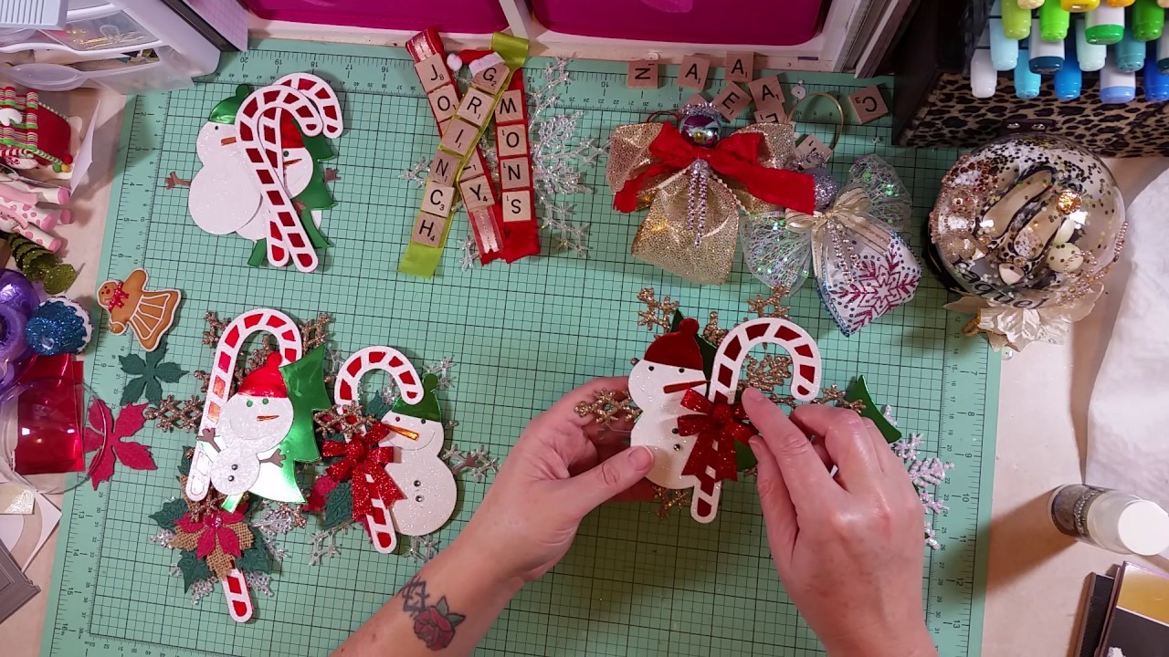 DIY Ornaments (Ribbon Angel & Scrabble Tile) and gift tags with Sizzix dies