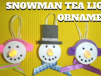 Easy Christmas Crafts for Kids - Snowman Tea Light Ornament