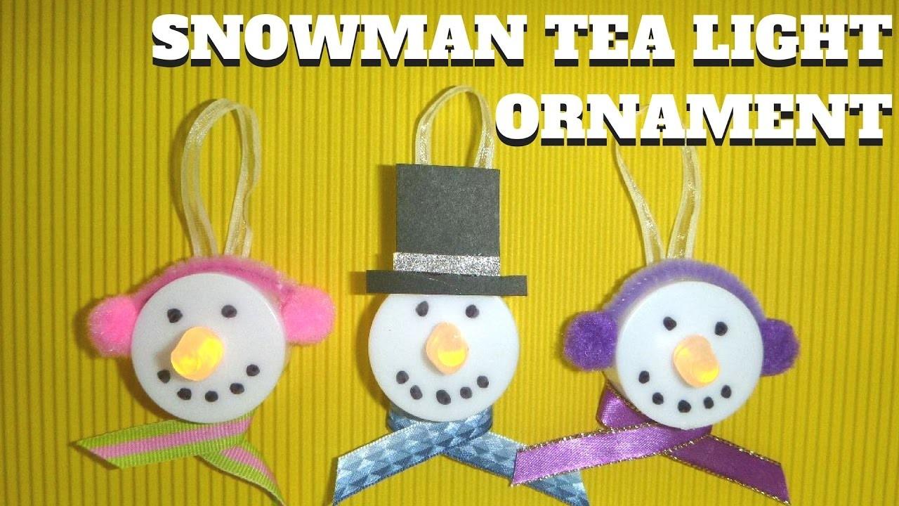 Easy Christmas Crafts for Kids - Snowman Tea Light Ornament