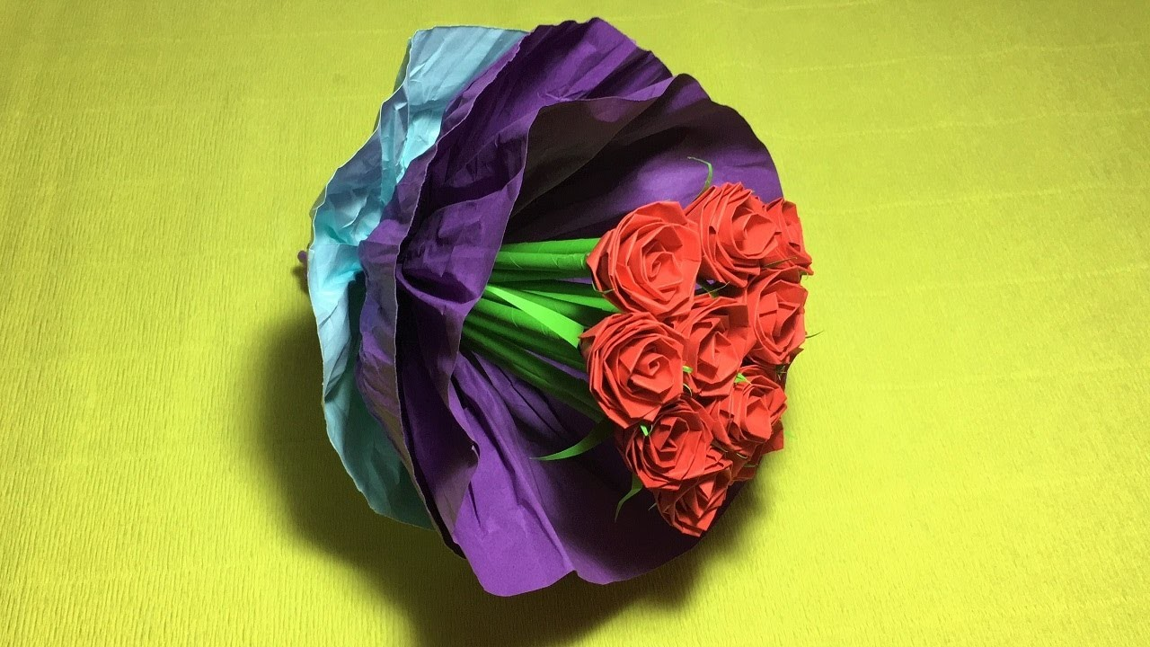 How to make Beautiful paper rose origami easy.paper rose.craft paper flowers roses diy (part 2)