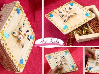 How to make jewelry box |  Diamond shape | popscile stick  | DIY | Artkala