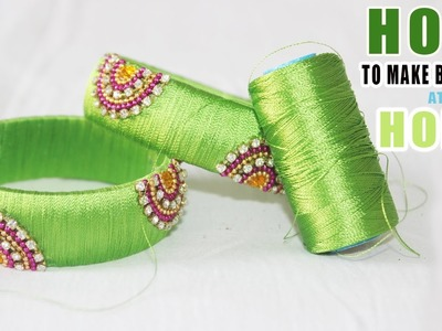 How to make  Silk Thread Bangles || Kundhan Work || Bangles at Home Diy