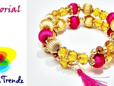 How to make silk thread bracelet at home - Simple Easy Beautiful DIY Tutorial