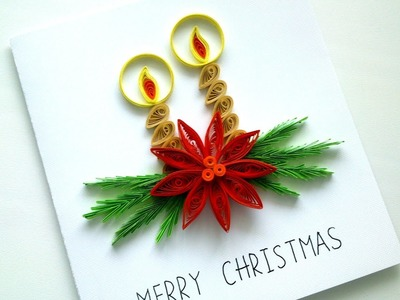 How to make Simple Christmas Card - DIY Paper Quilling Greeting Card