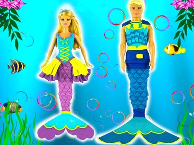 Play Doh Mermaid Princess Barbie and Ken dolls Play Doh Fashion Craft and Toys Inspired Costumes