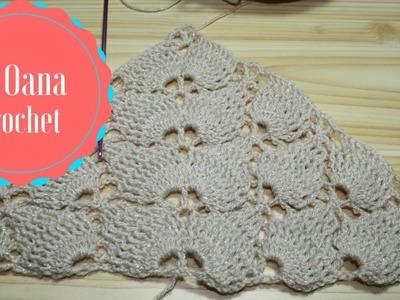 Crochet Leaf stitch triangle scarf.shawl- by Oana