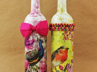 Decoupage Bottles with Easy Crackle - Fast & Easy Tutorial - DIY