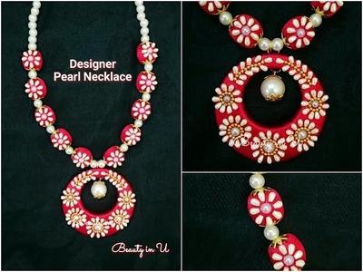 DIY | Designer Silk Thread Necklace using pearls | Tutorial