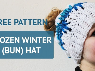 Free crochet pattern - Frozen Winter (bun) hat