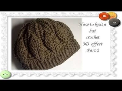 How to Crochet A Hat: 3D effect.Part 2