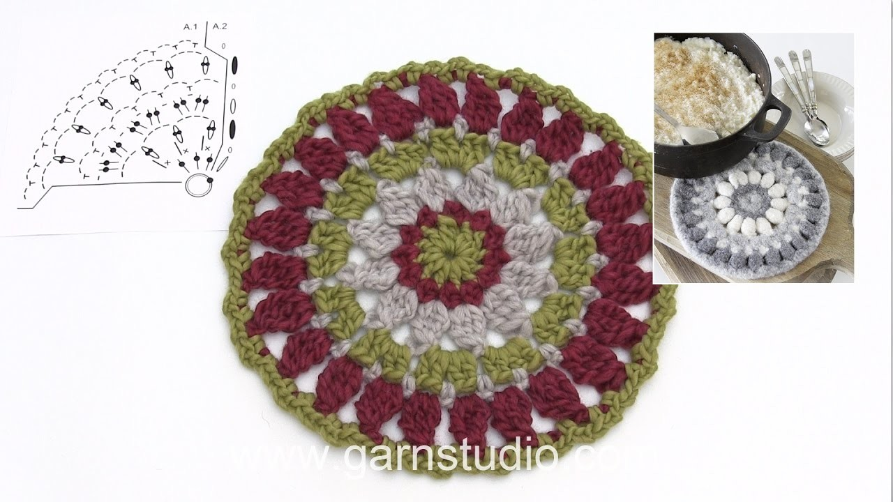 How to crochet a trivet for Christmas in DROPS Extra 0-1349