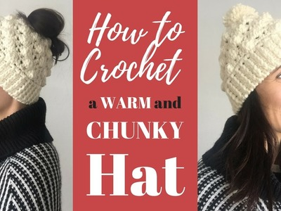 How to Crochet an Easy Textured Hat (or Messy Bun Hat!)