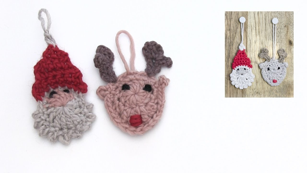 How to crochet the Santa and the reindeer for Christmas in DROPS Extra 0-1348