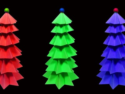 How To Make A Beautiful and Colorful Paper Christmas Tree (Christmas Crafts) : HD