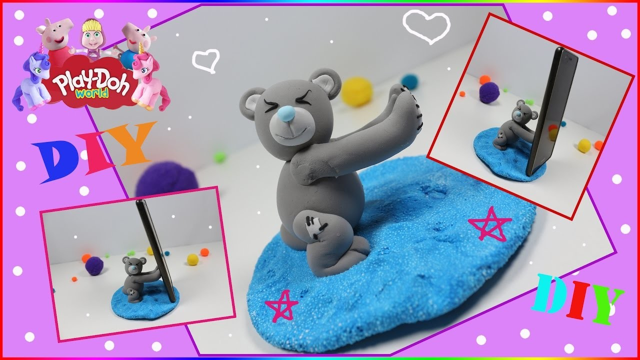 How To Make AMAZING BEAR Phone Holder with Play Doh Modeling Creation DIY