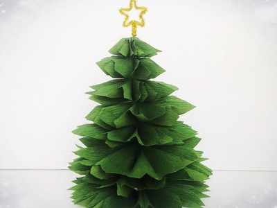 How To Make Christmas Tree From Crepe Paper - Easy Tutorial