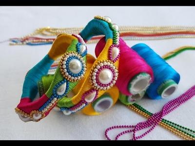 How to make Designer Bridal Bangles with #silk thread at Home | DIY