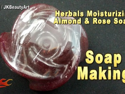 How to make homemade soap | Almond Rose soap making recipe | JK Beauty Art 051