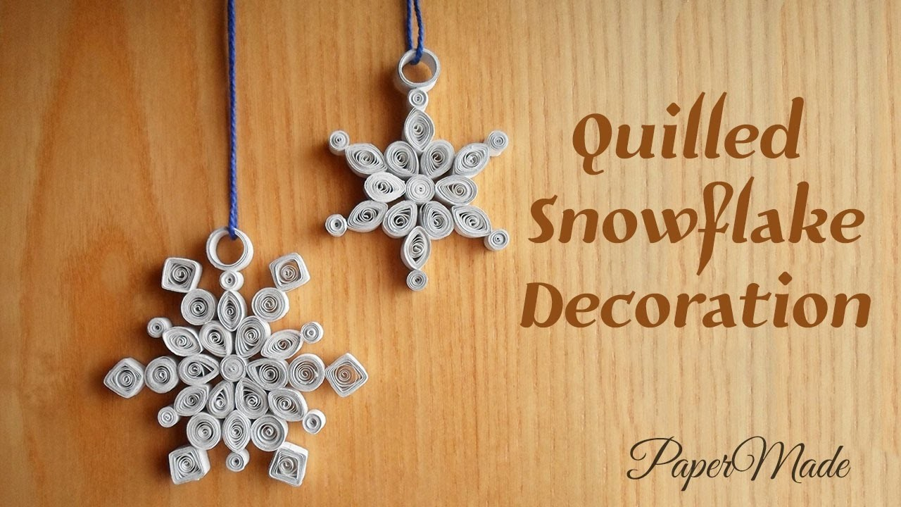 How to make Quilled Snowflake Decoration With paper   Christmas Snowflake   DIY   PaperMade