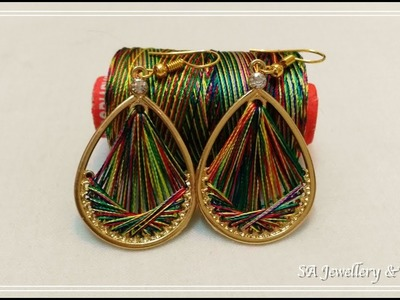 How to make Silk Thread Earrings(Peruvain) at Home !!