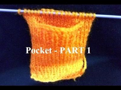 Knit Pocket. Knit Pattern हिंदी. बुनाई डिजाइन - 16 * Knit Sweater Pocket- Part 1 *