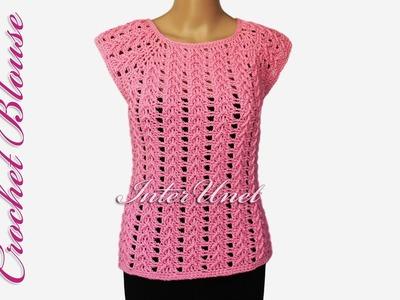 Lace top - crochet pink blouse