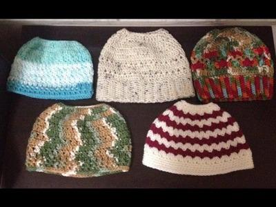 Messy bun hat.Ponytail hat crochet (bottom to top) -English