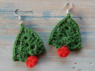 Mini Crochet Christmas Tree Earrings Tutorial