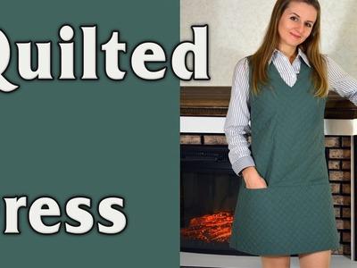 Quilted dress. Warm winter dress DIY tutorial.