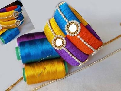 Silk Thread MIRROR BANGLES with Multi colours # Silk Thread Mirror Bangles | DIY