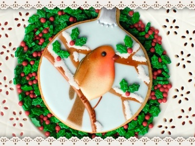 Throwback to Airbrushed Robin Cookie - How to make a winter scene on a cookie