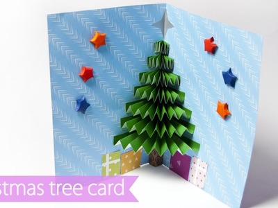 3D Christmas Pop Up Card | How to make a paper Christmas  Tree Pop - Up Card