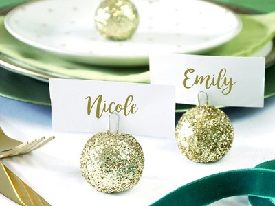 DIY Christmas Bauble Ornament Place Card Holder | BirdsPartyTricks