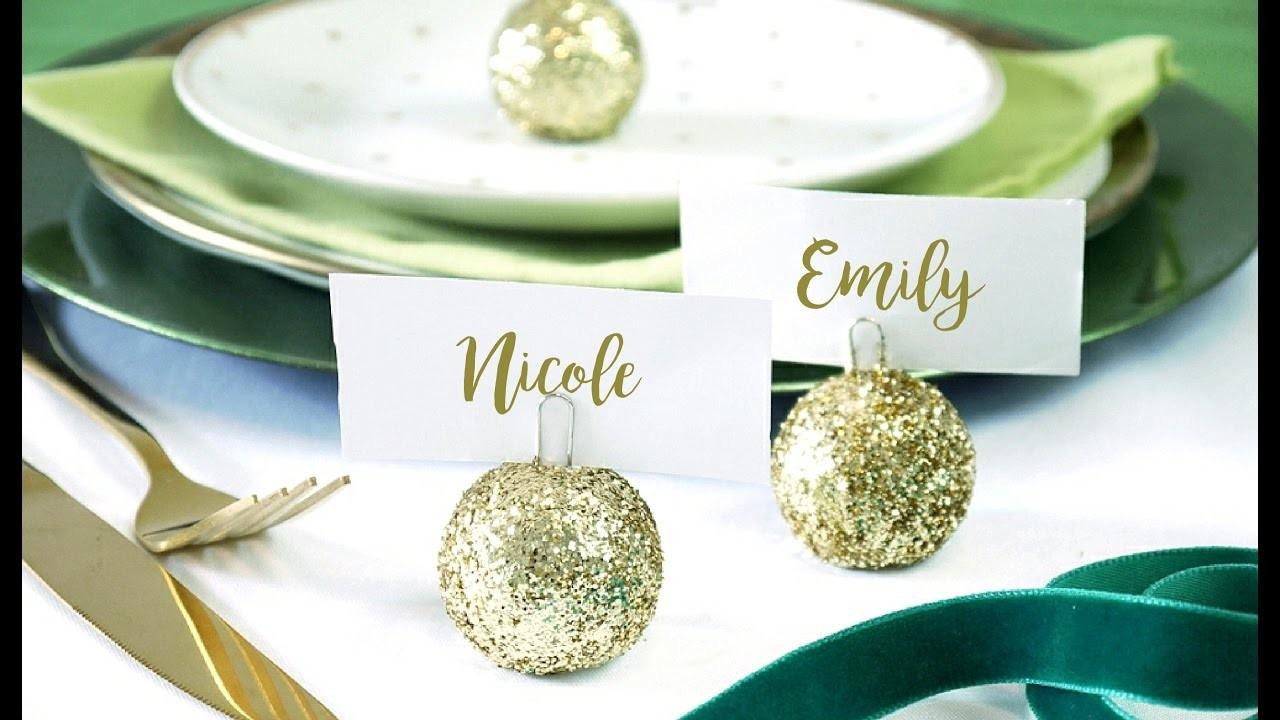 DIY Christmas Bauble Ornament Place Card Holder | BirdsPartyTricks
