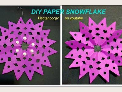 Diy- FUSCHIA SNOWFLAKE, DIY PAPER ORNAMENTS, Hot pink snowflake Christmas Decorations