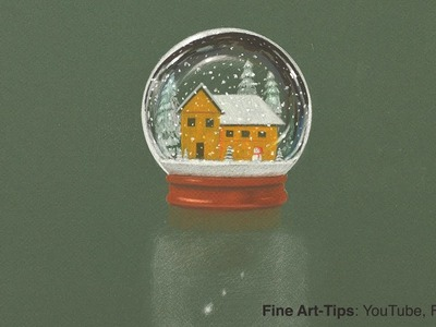 How to Draw a Crystal Ball With Snow - Christmas DIY