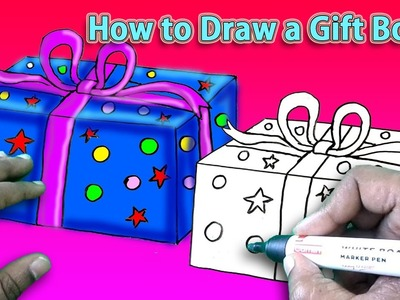 How to Draw a Gift Box Simple Drawing Tutorial for Beginners Art and Shade