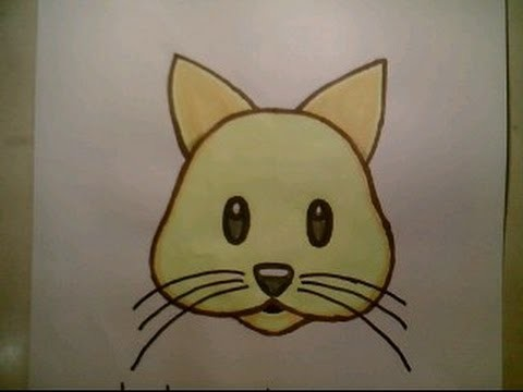 How To Draw Emoji Cat Face For Beginners Kids Cute In The Hat Kitten