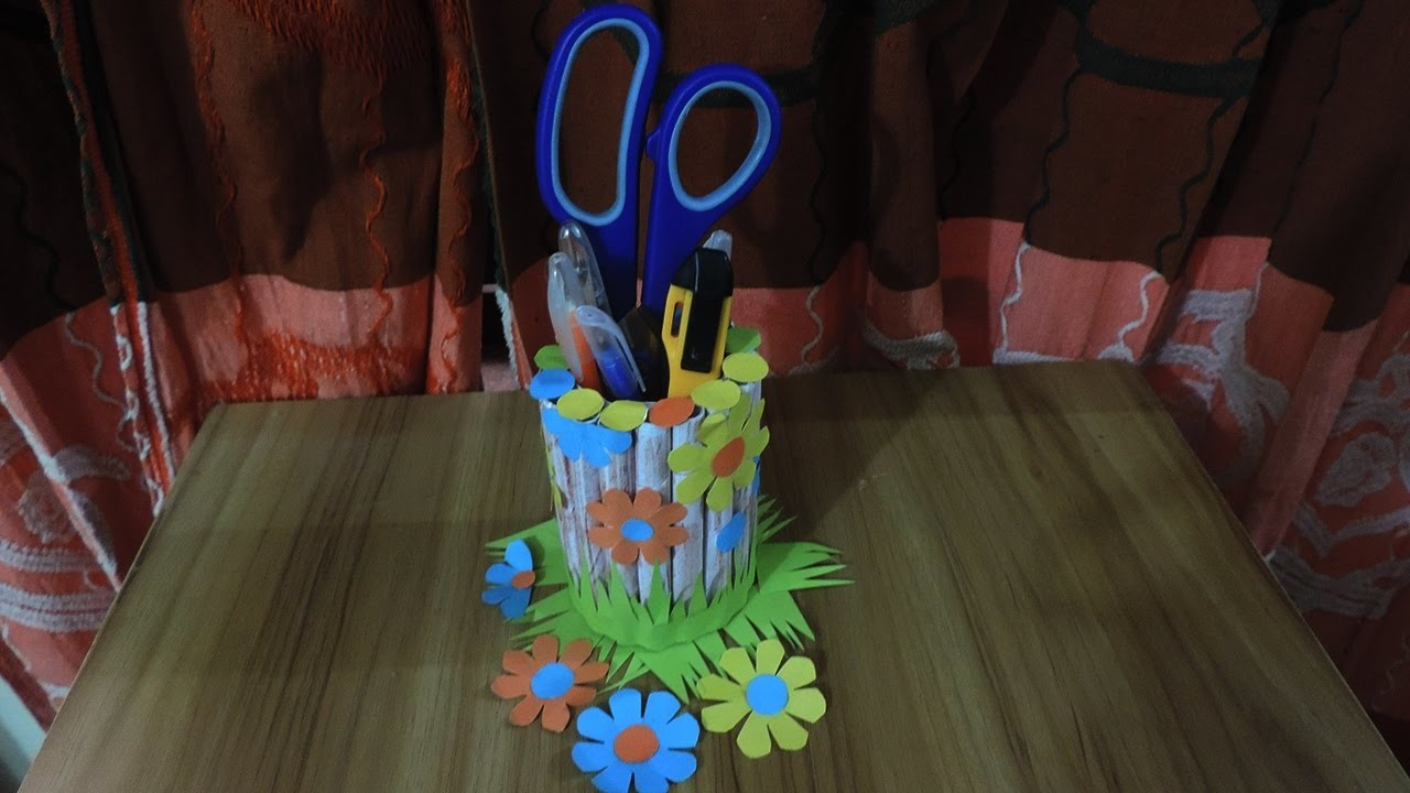 How To Make Creative Pen Holder By Decoration Idea 673