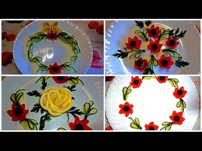 HOW TO MAKE  TOMATO FLOWER AND CUCUMBER GARNISH &  VEGETABLE CARVING & CUTTING GARNISH - FRUIT ART
