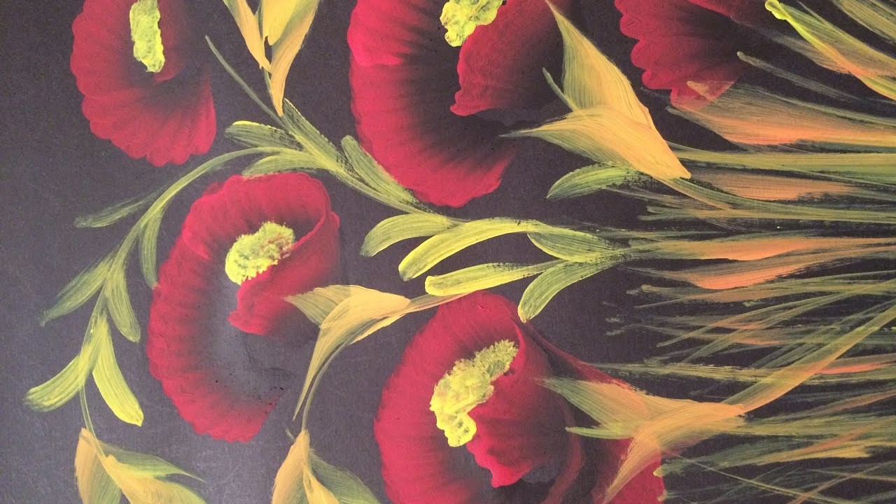 How to paint poppies ; one stroke painting