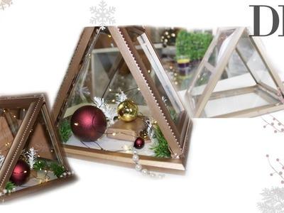 HOW TO: Triangular Lantern Display | Holiday | Winter | Dollar Store DIY | Rose Gold Home Decor