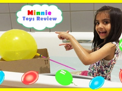 Making a Boat with Yellow Colourful Balloon DIY Activity for Kids Bath Toys Minnie ToysReview