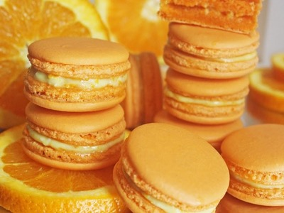Orange French Macarons | Homemade French Macarons | How to make French Macarons