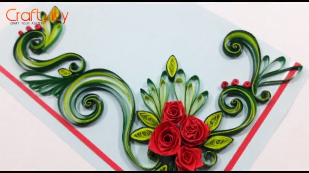 Paper Quilling Flowers Cards How To Make Paper Quilling Rose Flower