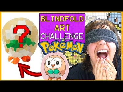 BLINDFOLD ART CHALLENGE ROWLET POKEMON SUN and MOON  polymer clay tutorial easy Craft MINIATURE DIY