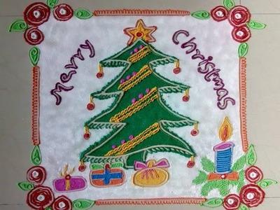 Christmas rangoli design,Merry Christmas